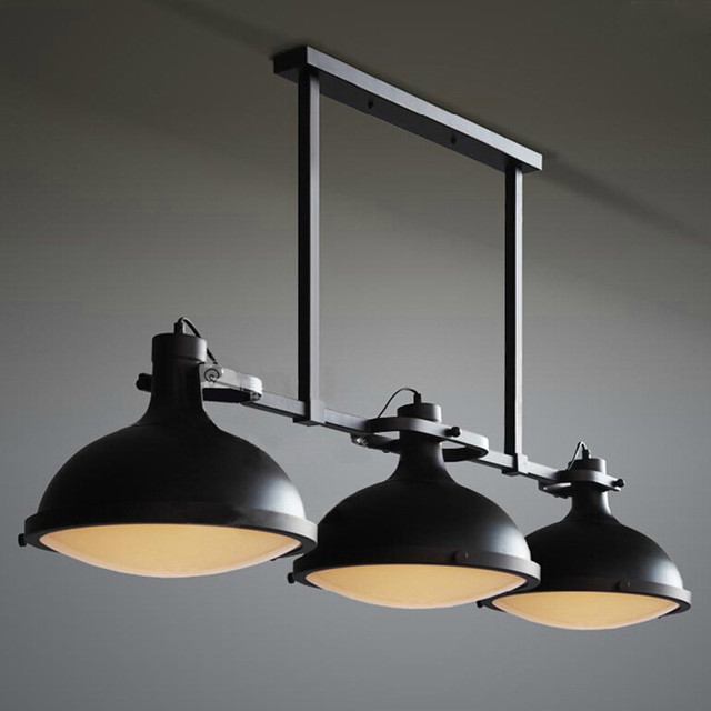 Buy retro vintage 3 lights black pendant for Luminaire exterieur retro