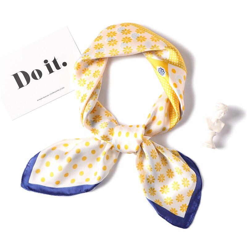 Fashion Women Silk Scarf Square Soft Foulard Ladies Hair Neck Scarves Dot Print Neckerchief Hijab 2020 Summer