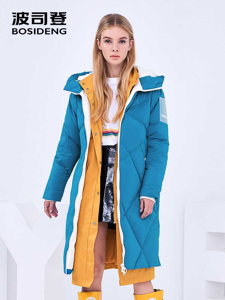BOSIDENG winter   down   jacket women   down     coat   warm thicken outwear female clothing PVC translucent sleeve icon B80142596DS