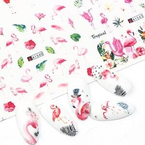 Image 2 - 12Pcs Flamingoสติกเกอร์เล็บดอกไม้รูปลอกน้ำโอนเล็บSlidersฤดูร้อนTattoo Nail Artตกแต่งเคล็ดลับJIA1537 1548 1