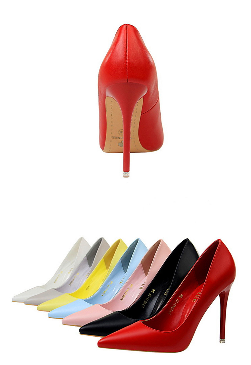 BIGTREE Soft Leather Shallow Fashion Women's High Heels Shoes Candy Colors Pointed Toe Women Pumps Show Thin Female Office Shoe 26