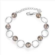 Everoyal Charm Lady Silver 925 Bracelets Jewelry Female Fashion Crystal Gray Ball Accessories Bracelet For Women Birthday Gift