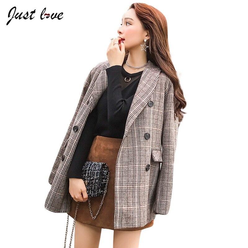 Women Plaid Blazers and Jackets Suit Ladies Long Sleeve Work Wear Blazer  Plus Size Casual Female Outerwear Winter Blazer Coat-in Blazers from Women's  ...