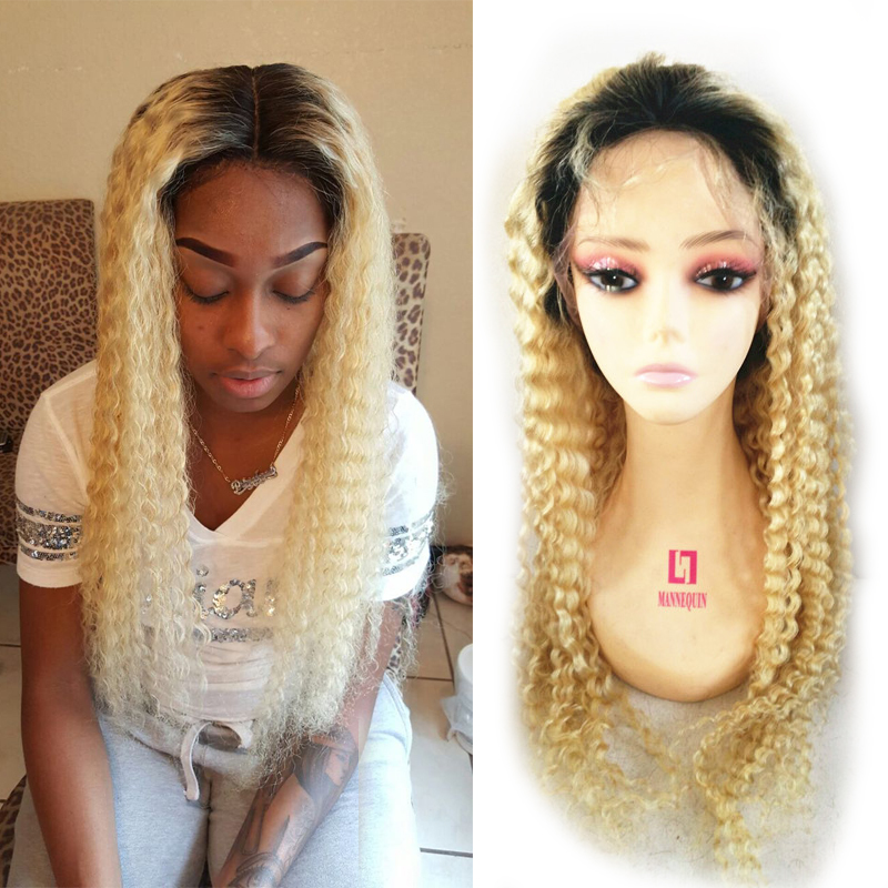 613 Blonde Full Lace Wig Brazilian  Virgin Hair Nature Hairline With Baby Hair Kinky Curl Ombre  1B  Blonde 613 Front Lace Wig