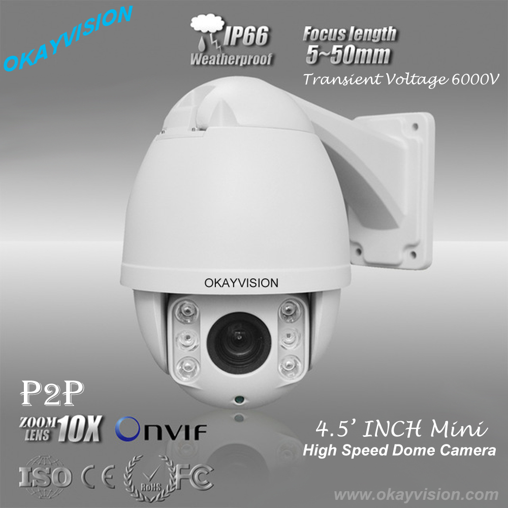 4.5 Mini HD-IP 1080p full hd p2p High Speed Dome Camera, outdoor & indoor Pan/Tilt Zoom PTZ 10X optical Zoom ip ptz camera top high speed full teeth piston