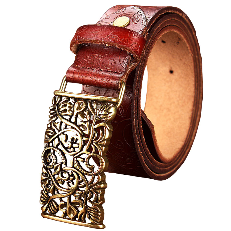 New Fashion Cow Genuine leather belt woman Vintage floral ...