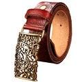 Nueva Moda de cuero de Vaca Genuino cinturón de mujer floral de La Vendimia de metal hebilla de correa para las mujeres cinturones Anchos para las mujeres de calidad Superior pantalones vaqueros