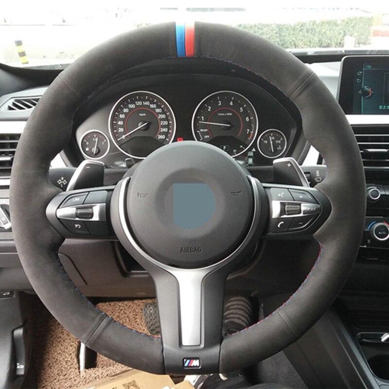 APPDEE Noir En Daim Couverture De Volant de Voiture pour BMW F87 M2 F80 M3 F82 M4 M5 F12 F13 M6 F85 X5 M F86 X6 M F33 F30 M Sport