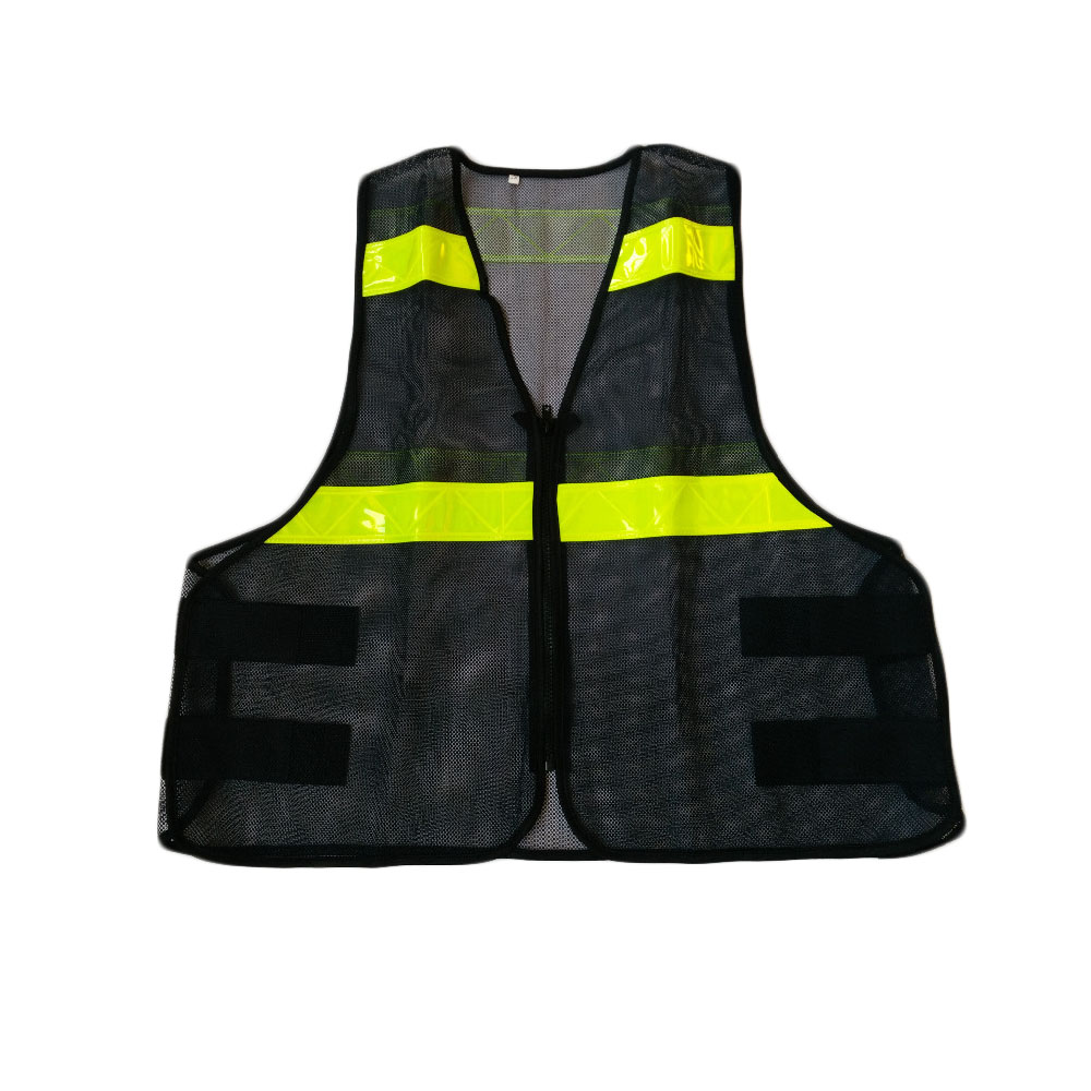 Black Mesh Vest High Visibility PVC Reflective Tape Zipper Front fluorescence yellow high visibility