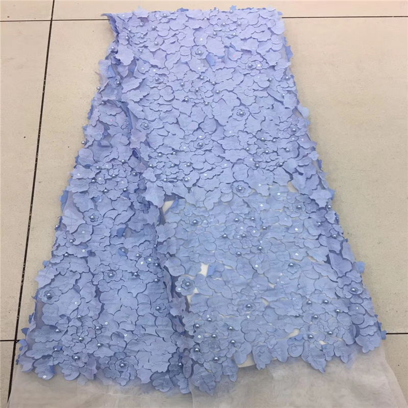 3d lace fabric with beads 5yard fashion WHITE african lace fabric Sequins 2018 high quality 3d flower fabric for dress