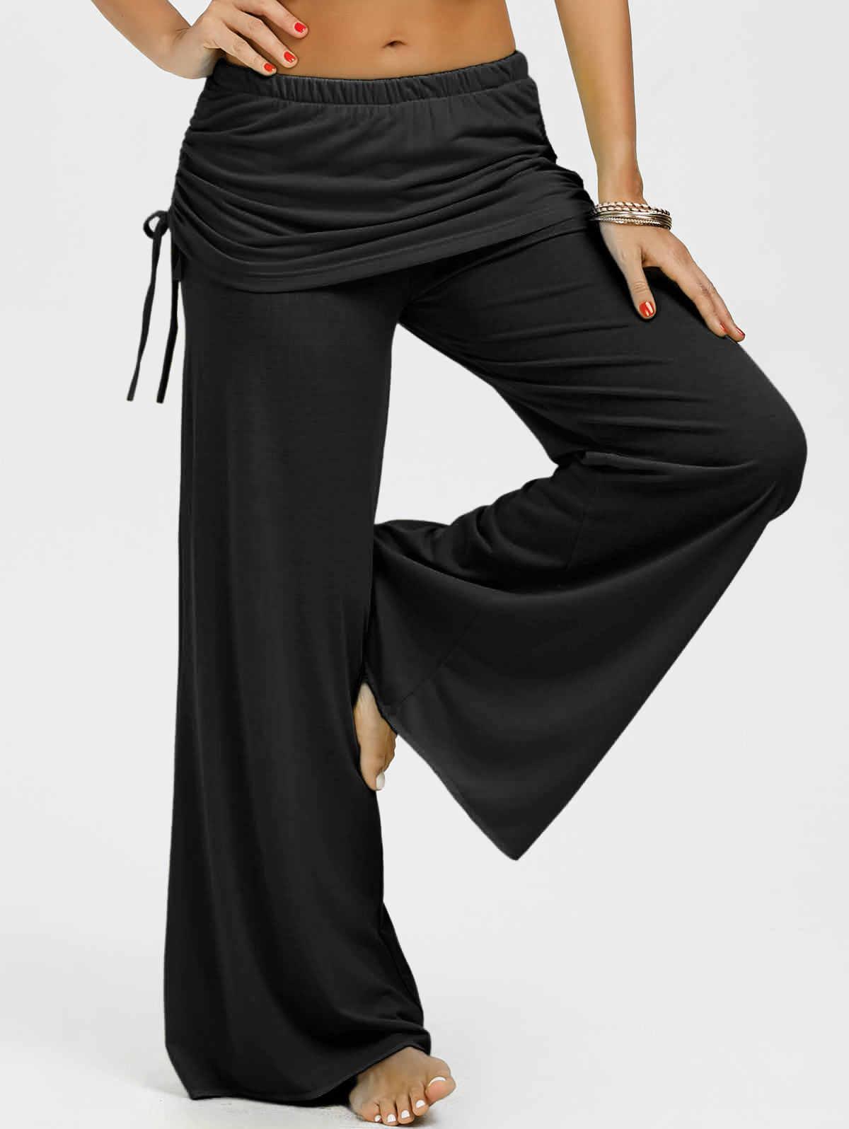 30aac91cdee Wipalo Wide Leg Pants Women Skirt Fly Loose Trousers Women High Waist Self  Belted Box Pleated