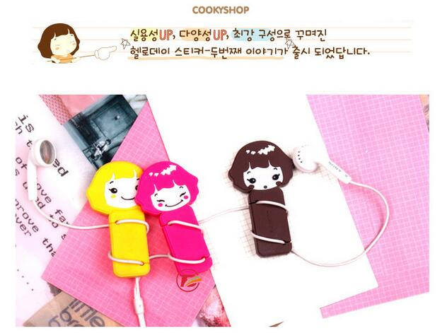 Girls Earphone Heaphone Cable Winder Cord Organizer Holder For iphone samsung Headphone line Clip