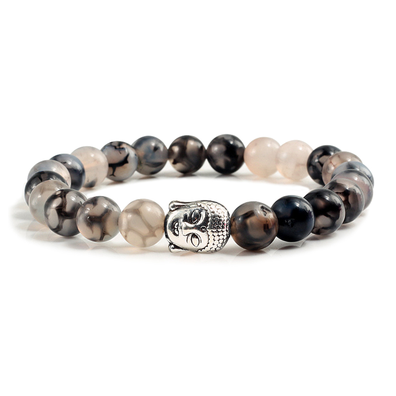 Classic Sliver Plated Buddha Beads Bracelets&Bangles Charm Men Black Natural Volcanic Stone Strand Bracelet Women Prayer Jewelry 1