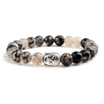 Classic Sliver Plated Buddha Beads Bracelets&Bangles Charm Men Black Natural Volcanic Stone Strand Bracelet Women Prayer Jewelry 1