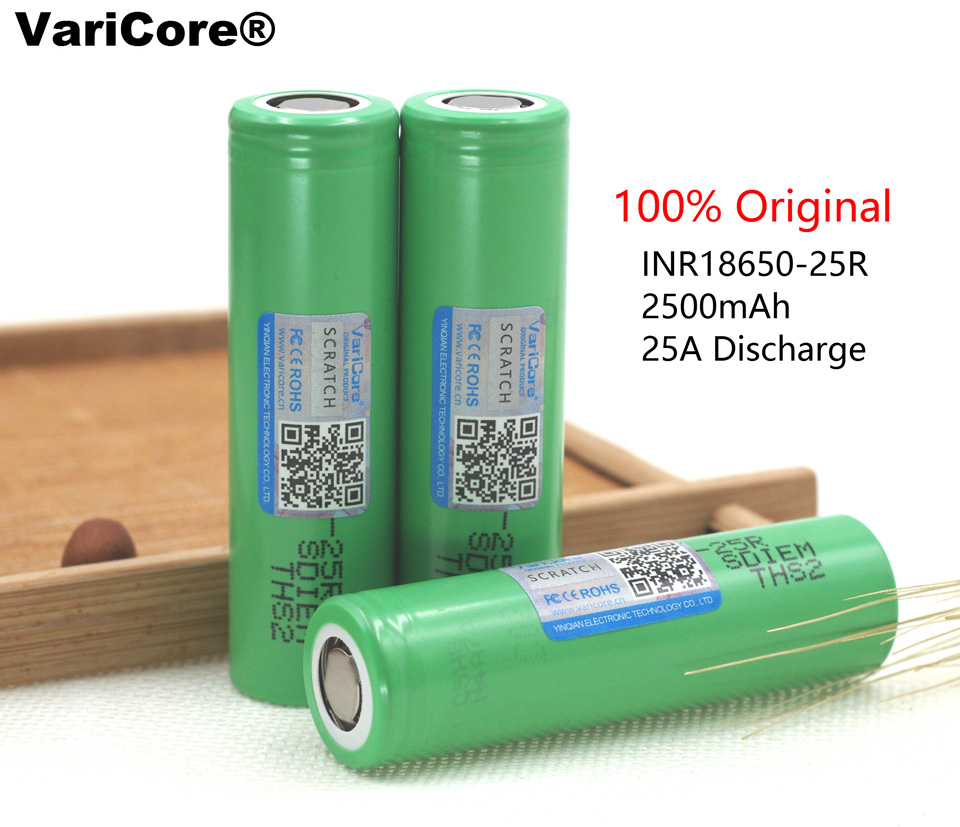 2 pcs 3 7 V 20A 18650 2500mah li ion battery discharge electronic cigarette INR18650 25R Rechargeable batteries in Rechargeable Batteries from Consumer Electronics