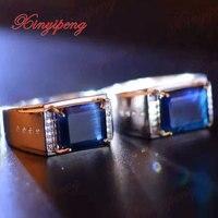 925 стерлингового серебра с 100% натуральный сапфир кольцо для мужчин Роскошные и щедрый свадебный подарок