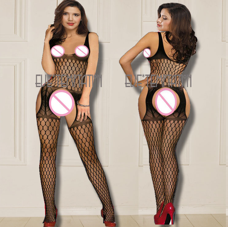 HOT Sexy ladies lingerie net perforate Lingerie Translucent crochet Crotchless product erotic GARTER Catsuit sleepwear in Babydolls Chemises from Novelty Special Use