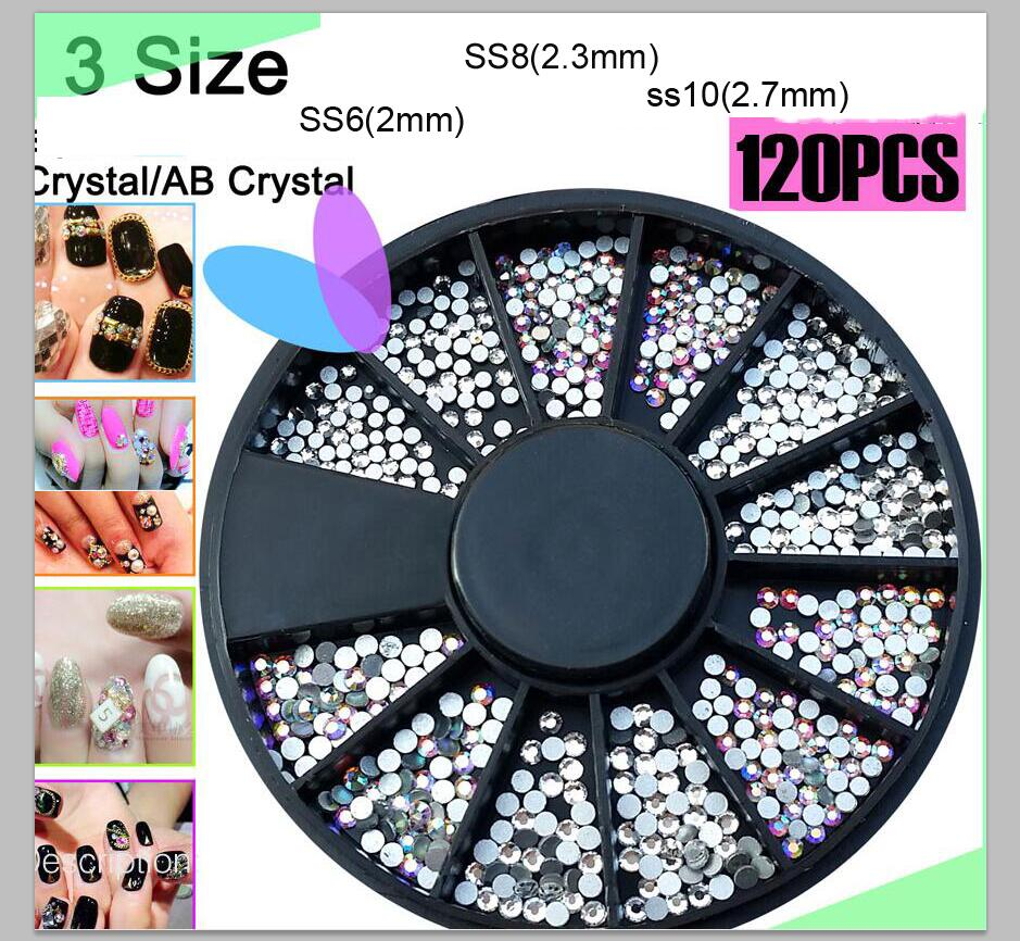 1 Wheel 120 pcs Clear AB flatback non hotfix rhinestone, silver foiled  clear/ strass for nails ,SS6/8/10 flat back