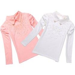 Школьная блузка для девочек, Рубашки Новинка 2018 года, весенние модные детские Однотонные блузки высокого качества с отложным воротником и к...
