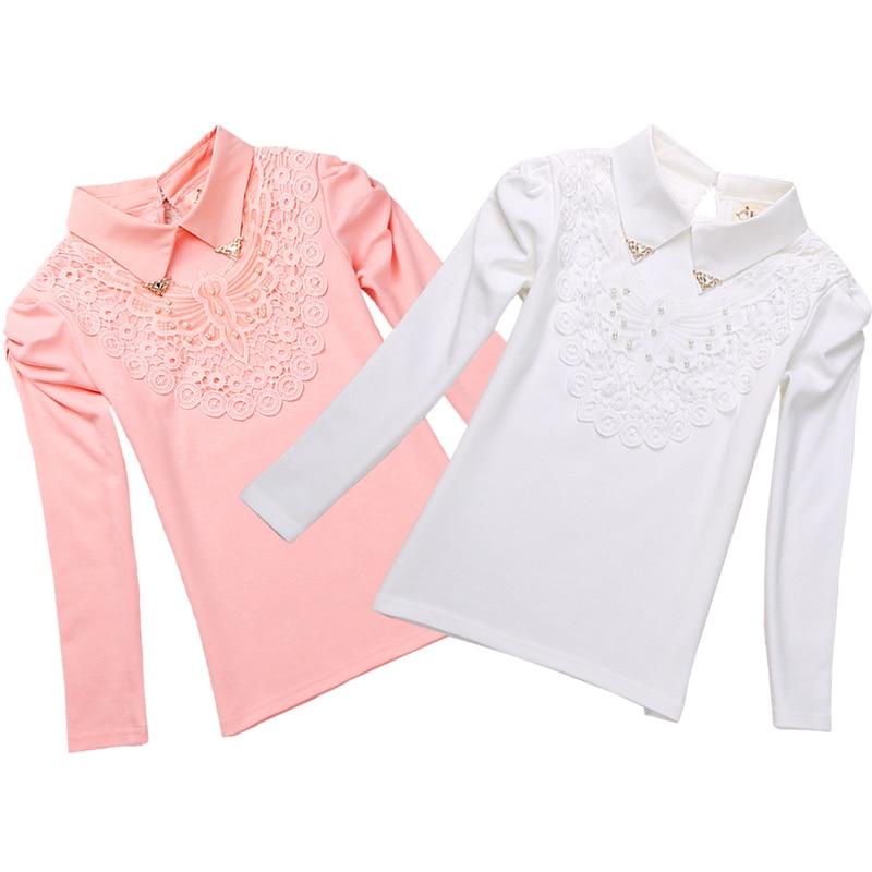 ed9352c88 مدرسة الفتيات بلوزة قمصان جديد 2018 الخريف أزياء أطفال الصلبة بدوره إلى  أسفل الدانتيل زهرة البلوزات