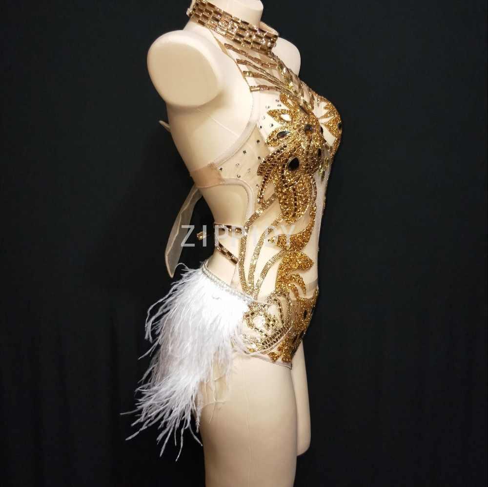 2019 сексуальные модные золотые стразы Холтер прозрачный сетчатый боди Перо хвоста праздновать для певцов в ночном клубе танцевальный наряд