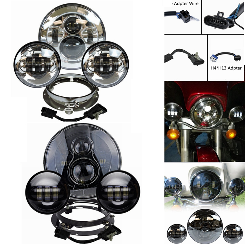 High low beam 7 inch Harley Daymaker LED Headlight with Matching Passing Lamps for Harley Davidson Motorcycles with Adapter Ring save 20