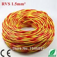 Весь рулон 100 м ZR rvs 2 * 1.5 мм Площадь красный и желтый нити витая пара лампа линии Медь ce и rohs электронная Провода проводник