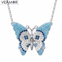 Veamor Turquoises Butterfly Pendant Necklaces For Women Natural Stones Link Chain Necklace Real 925 Sterling Silver
