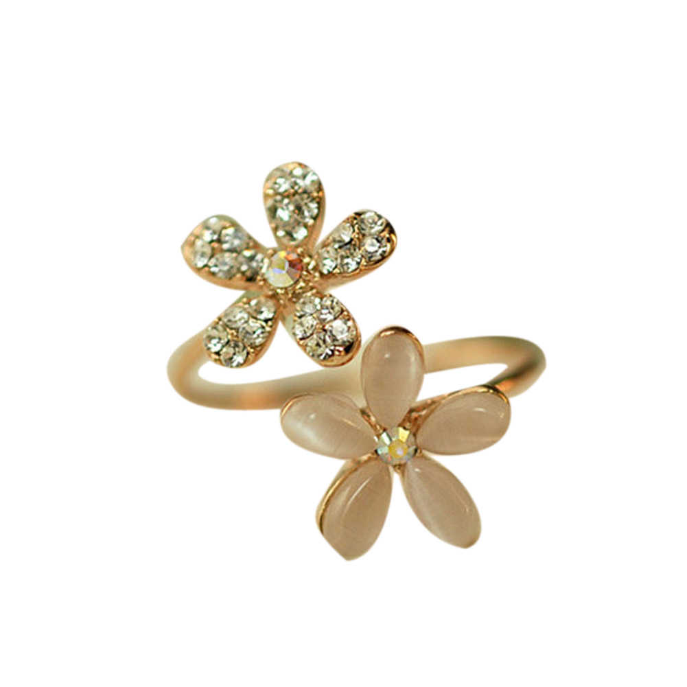 Female Charm Resizable Small Daisy Ring Open Ring With Rhinestone Flower Ring For Girl Gift Jewelry