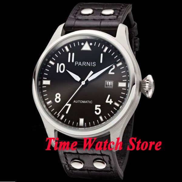 Parnis watch 47mm Black dial black strap Luminous Automatic movement deployant style clasps Men's watch P38 image