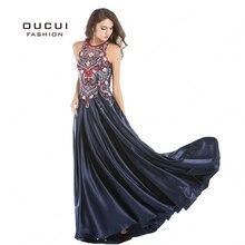 Sem mangas azul marinho vestido de baile sexy cortar design longo vestidos femininos festa à noite vintage bl1802