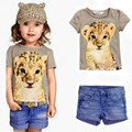 2016 New Style Children Clothing Sets Girls Summer Clothing  Baby Girls Suits Leopard Design T-Shirt Denim Shorts Kids Sport set