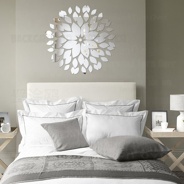 Creative Round Flower Petals 3d Acrylic Decorative Mirror Wall Stickers Living Room Bedroom Ceiling Home Decor