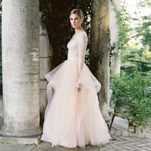 2017 Trendy Ruffle Tulle Skirt Buff Beige Tiered Tutu Bridal Formal Party Skirt for Wedding High Waist Women Long Skirt Custom