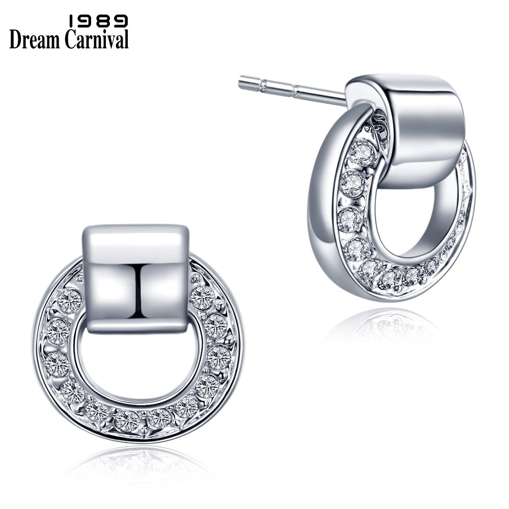 DreamCarnival 1989 New Best Low Price Stud Earrings for Women Round Shape White Crystals Office Jewelry Super Deal Sales Brincos