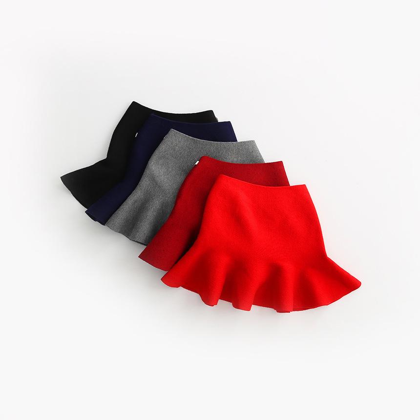 Wool knit solid short skirt girls half skirt 2017 new Korean children\'s clothing children\'s skirt (22)