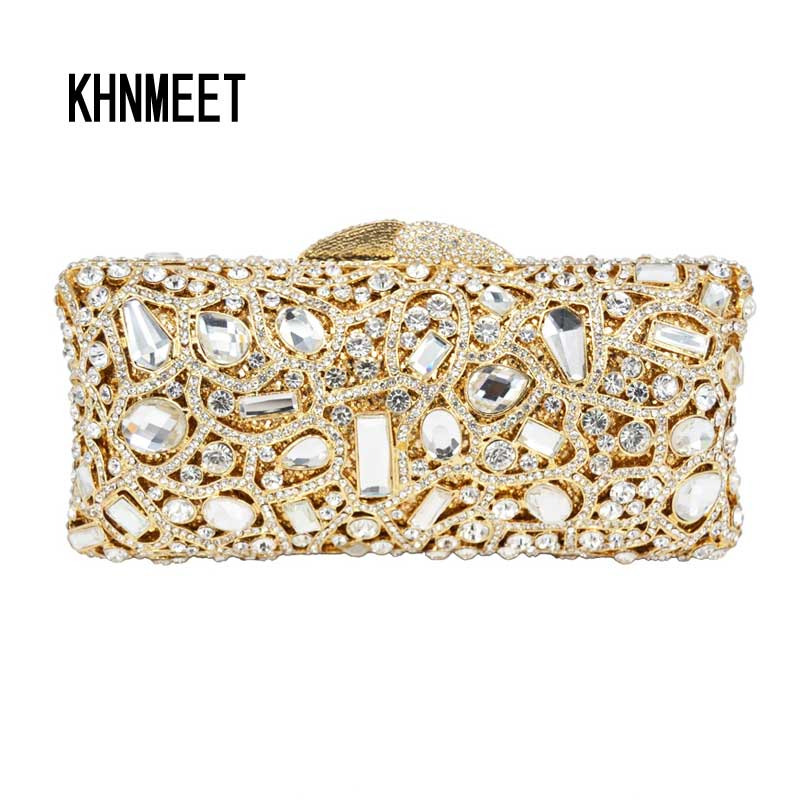 Golden Grey Diamond Handbag Luxury Crystal Evening Clutches Bag with Chain banquet bag Holiday Cocktail Dinner