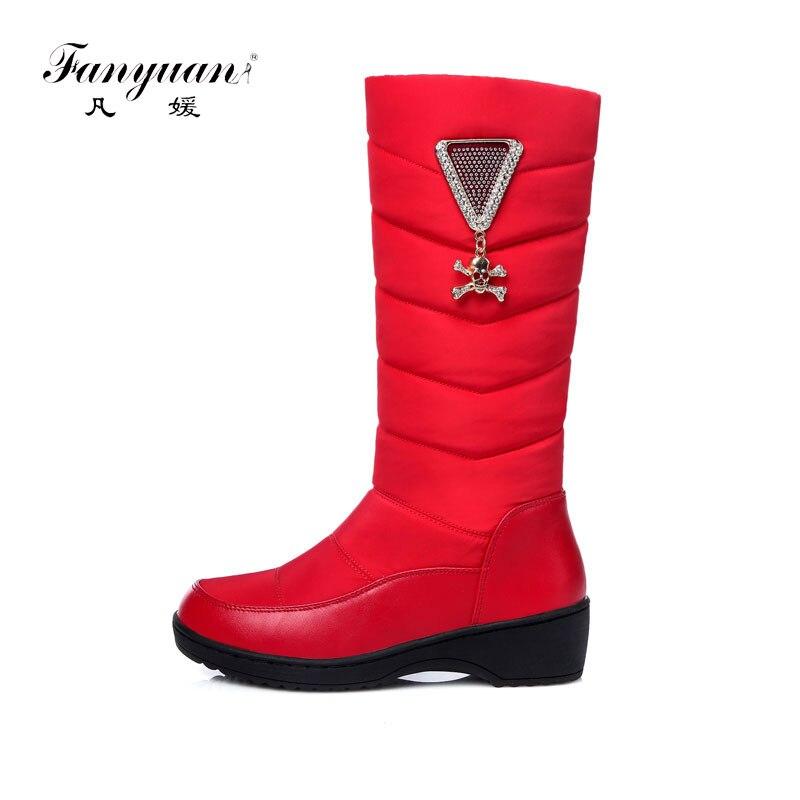 Fanyuan 2018 mode femmes genou haute neige bottes sans lacet compensées talon bout rond chaussures hiver femmes neige bottes longues taille 35-44