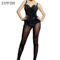 Мигающий черный сетчатый прозрачный комбинезон со стразами для ночного клуба для женщин танцевальное шоу боди леггинсы наряд для дня рожде...