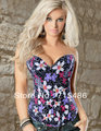 Free Shipping  4 Available Size Floral Denim Zipper Corset with G-string Sexy Lingerie Corset
