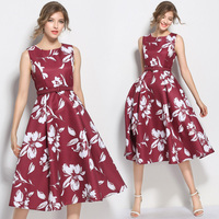 Bebovizi New Brand 2018 Top Quality Red Vintage Summer 50s Dresses For Women Casual Dress Big