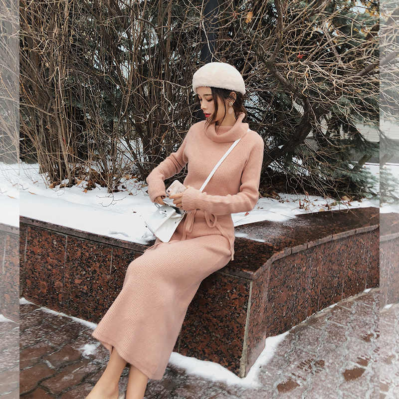 MISHOW 秋冬 soild タートルネック女性の 2019 新しい因果スリムフィット長袖ミッドレングスセクシードレス MX18D5909