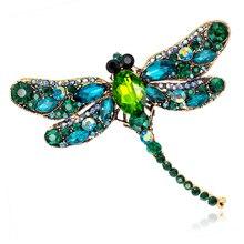 Broches de libélula de cristal Vintage para mujer, broches grandes con Pins, broches de diamantes de imitación, accesorios de boda, joyería de Color dorado