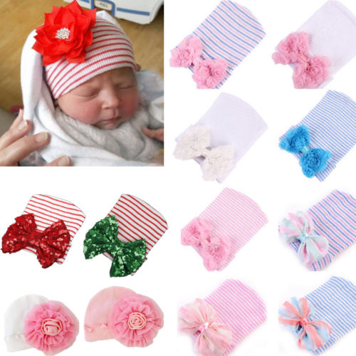 e478fe8b3 US $1.49 6% OFF|Baby Girls Infant Striped Soft Hat Flower Bow Caps Hospital  Newborn Beanie Sequin Winter Autumn Headwear-in Hats & Caps from Mother &  ...