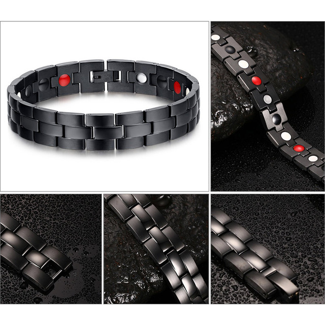 Black Men's Health Bracelets Magnetic