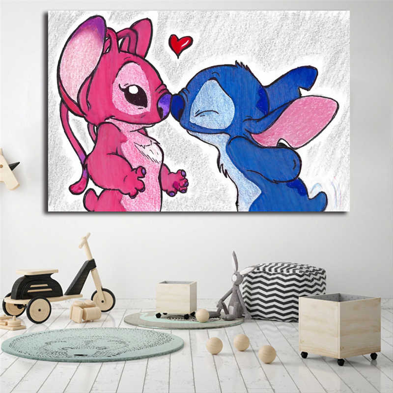 Stitch And Angel Minimalist Wall Art Canvas Poster And Print Canvas Painting Decorative Picture For Bedroom Home Decor Framework