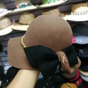 Image 3 - 01809 baoliu9 3 bowknot % צמר פרל ליידי חורף מגבעות לבד כובע נשים פנאי כובע