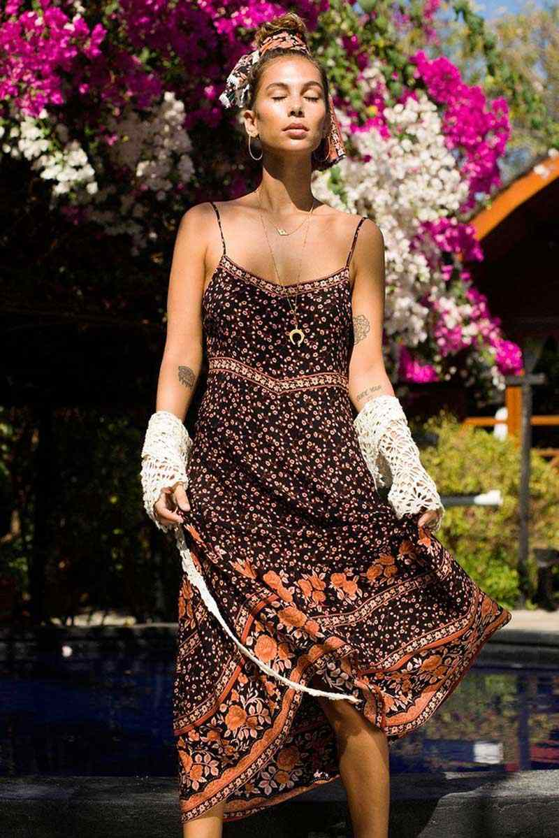 Богемный Вдохновленный сарафан на весну и лето платье с ремешками для женщин 2019 богемное Макси шикарное пляжное платье 2019 vestidos