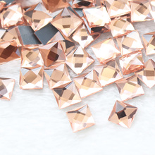 Lt peach 6mm8mm10mm 130pcs/lot Square Shape Hot Fix Rhinestones Flatback Strass Crystal fix Trim for Dresses Bags