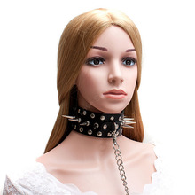 Fetish Bondage Black Rivet Needle PU Leather Slave Collar